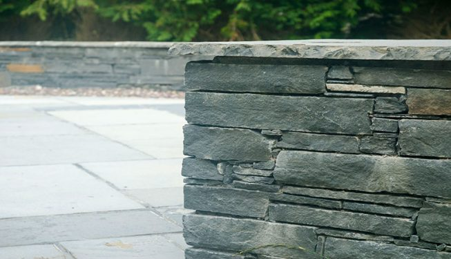 Patio & Low Stone Wall with Lighting 1
