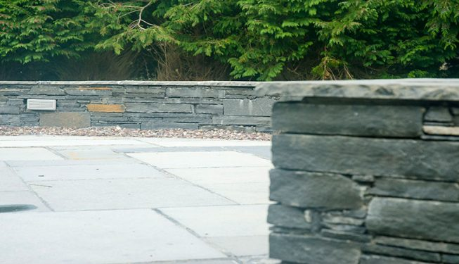 Patio & Low Stone Wall with Lighting 2