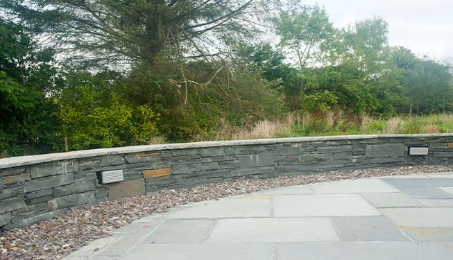 Patio & Low Stone Wall with Lighting 3