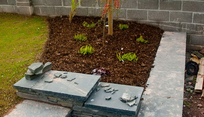 Low Stone Wall, Capping, Steps & Bed Planting